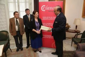 Rafael Vidal, Director del Foro; Jacques Beruck, Presidente de AECYR; Sharon White y Rafael García Padilla, Vicepresidente de la Cámara de Comercio de Málaga