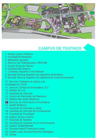 Mapa campus de Teatinos