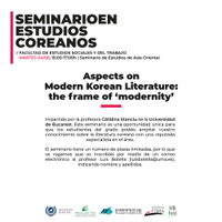 Seminario | Aspects on Modern Korean Literature: the frame of 'modernity
