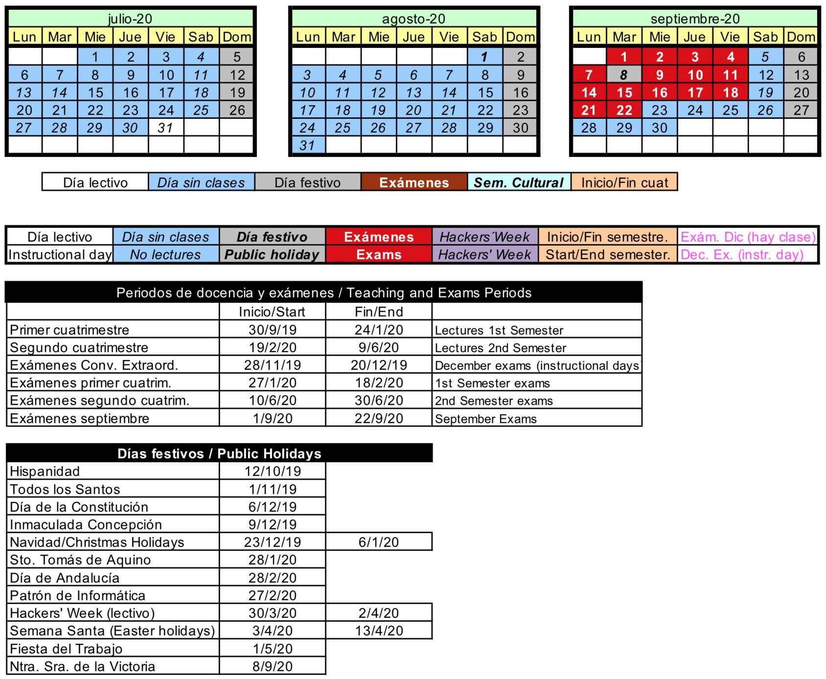 Calendario Etsit.E T S I Informatica Calendario Escolar Universidad De Malaga