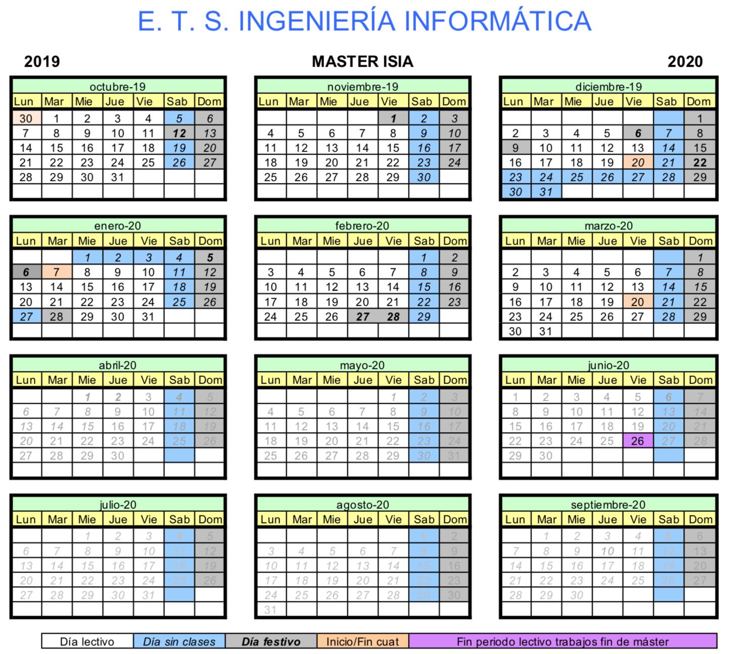Calendario Etsit.E T S I Informatica Master Ing Del Sw E Int Artific