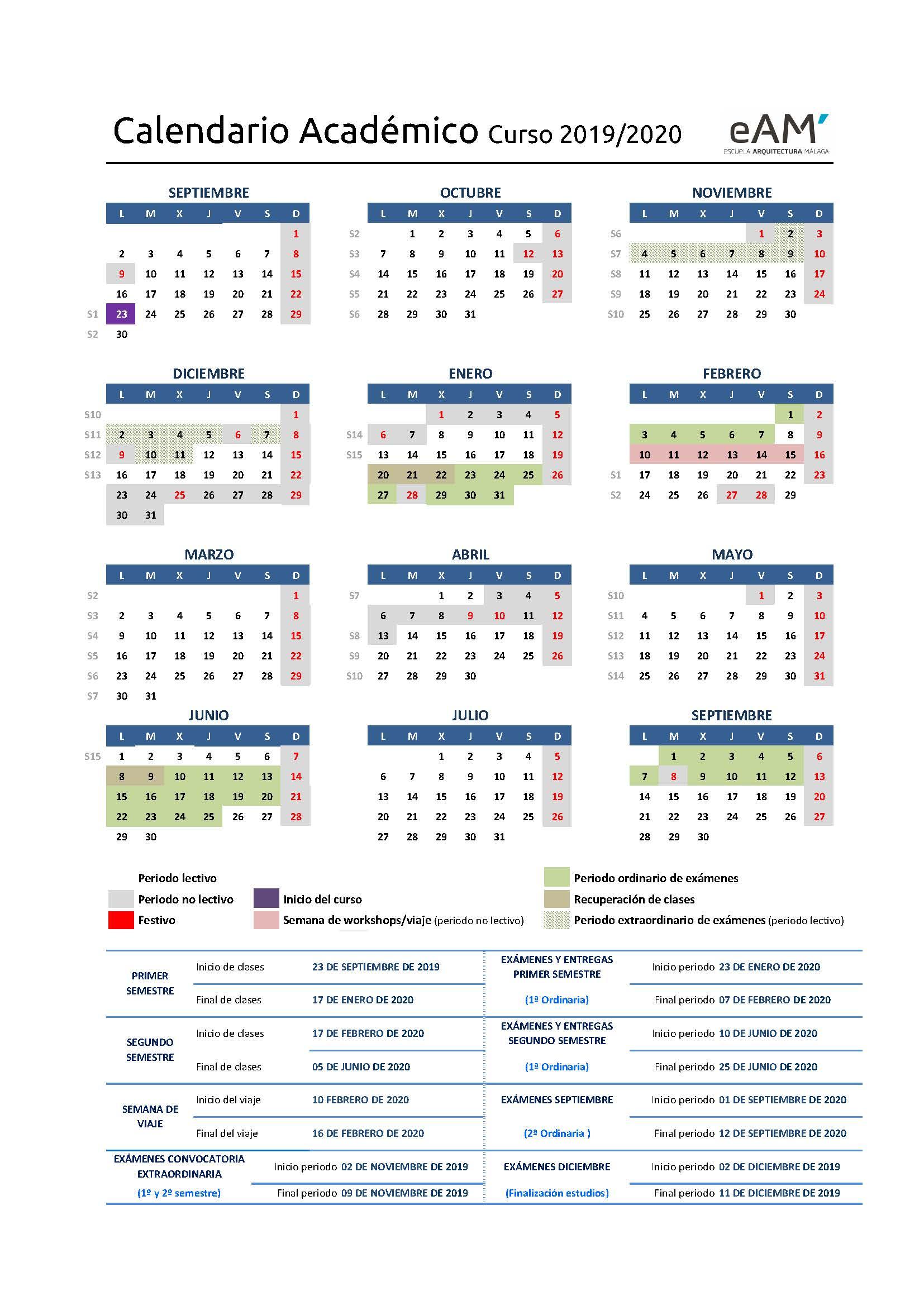 Calendario Universitario.E T S De Arquitectura Calendario Academico Eam