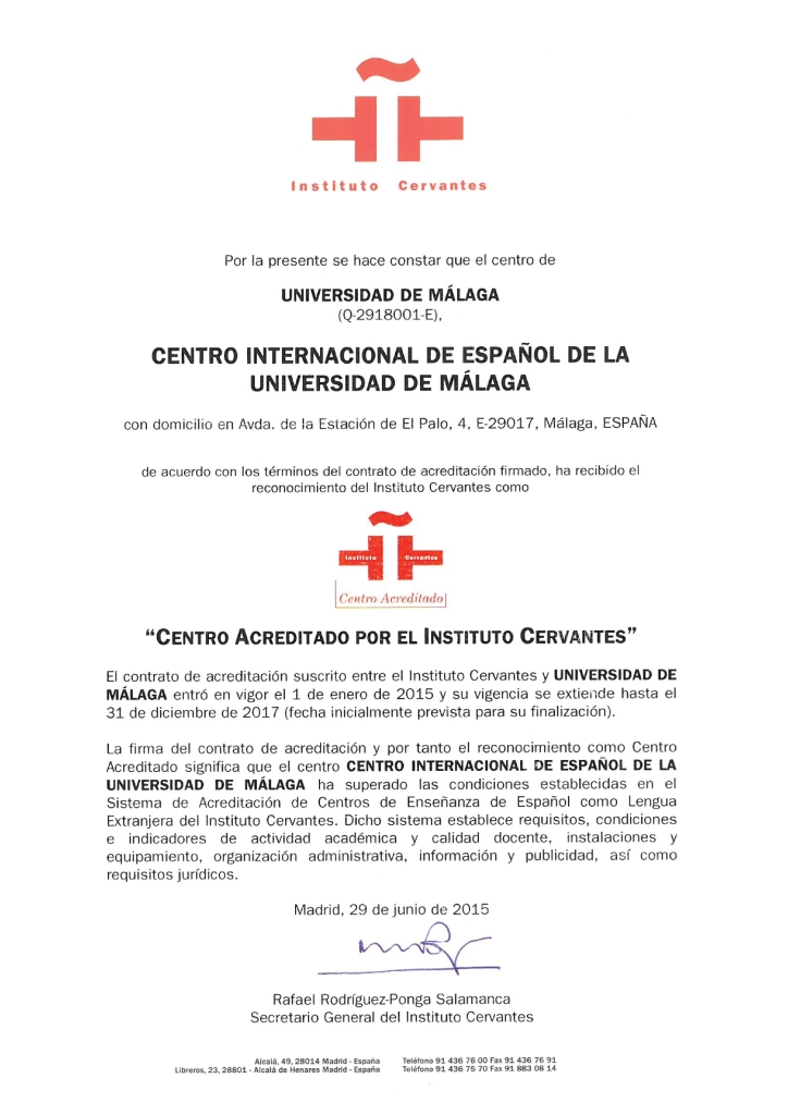 Acreditación Cervantes