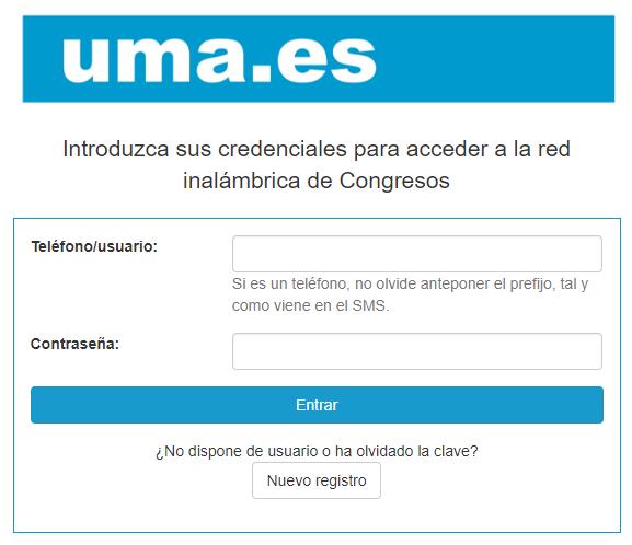 SERVICIO CENTRAL DE INFORMÁTICA - Guest WiFi access to Congresos